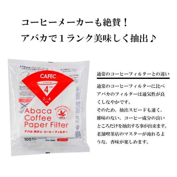 アバカ円すいコーヒーフィルター2~4杯用(100枚入)白色