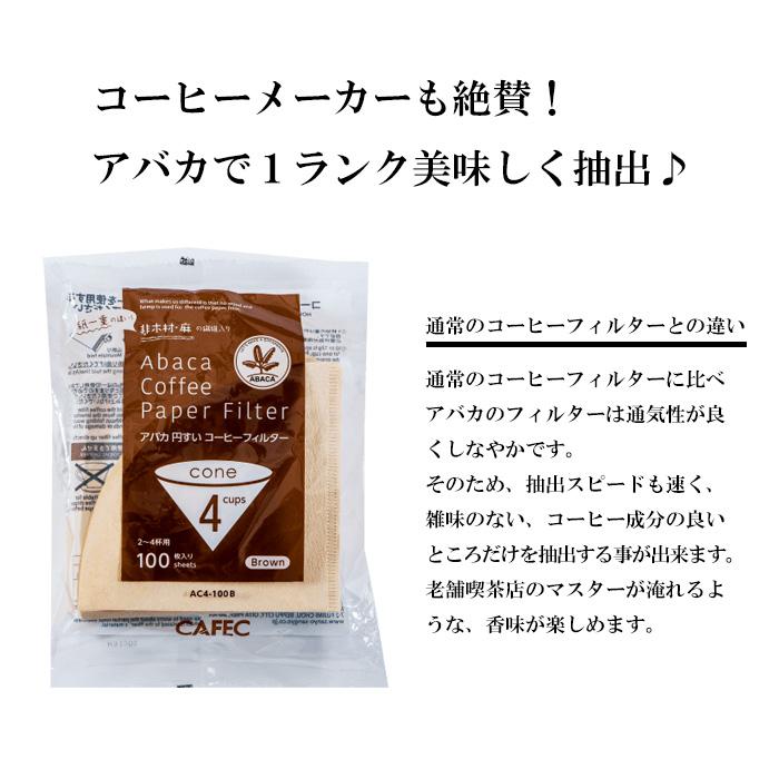 アバカ円すいコーヒーフィルター2~4杯用(100枚入)茶色